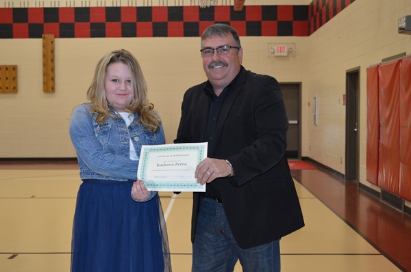 Addaville Elementary student, Kadence Petrie, was honored at the April 4, 2016 Board Meeting for her participation in a Martin Luther King Jr. Essay Contest.