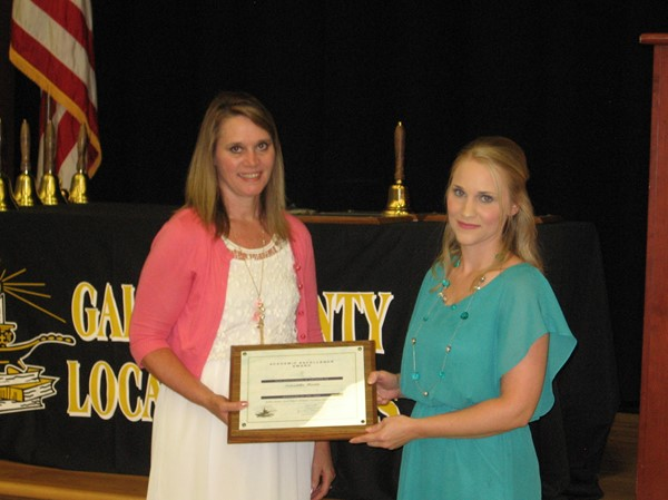 Teacher of the year Samantha Martin with Sandy Plantz