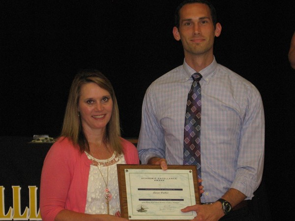 Teacher of the year Aaron Walker with Sandra Plantz