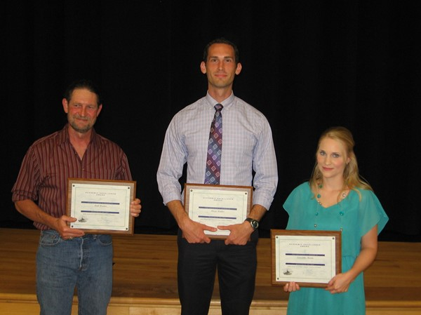 Teacher of the year Sam Sowards (for Ruth Warden), Aaron Walker and Samantha Martin